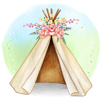 水彩自由ho放に生きる春部族のテント