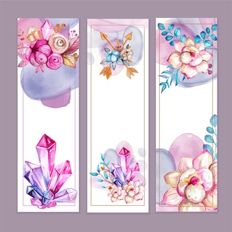 水彩自由奔放に生きるスタイルの花のバナー