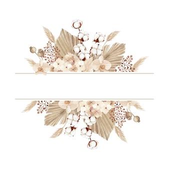 Акварельная рамка в стиле бохо с красивым хлопковым цветком