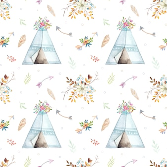 Watercolor boho teepee pattern