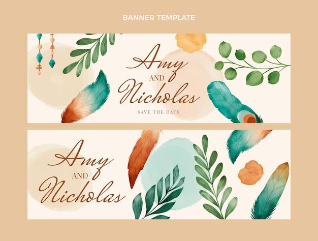 Banner di matrimonio boho acquerello
