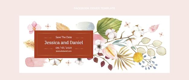 Watercolor boho wedding facebook cover