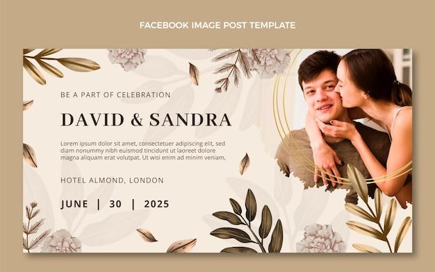 Watercolor boho wedding facebook post
