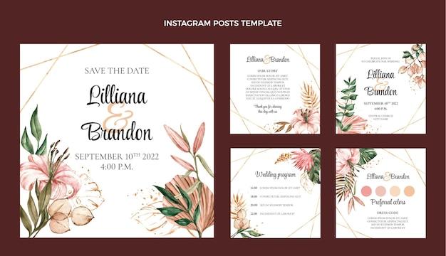Акварель бохо свадебный пост в instagram