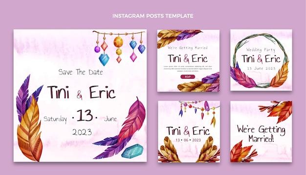 Watercolor boho wedding instagram posts