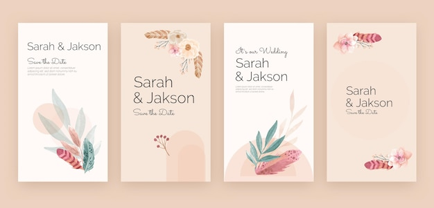 水彩自由奔放に生きる結婚式のinstagramの物語