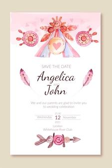 水彩自由奔放に生きる結婚式の招待状のテンプレート