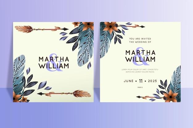 Watercolor boho wedding invitation template