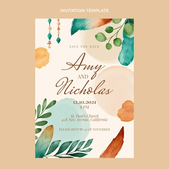 Watercolor boho wedding invitation