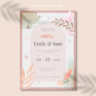 水彩自由奔放に生きる結婚式の招待状