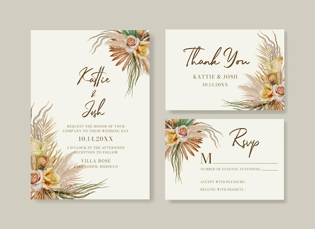 Watercolor boho wedding invitation