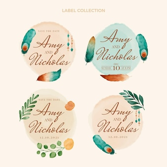 Watercolor boho wedding label and badges