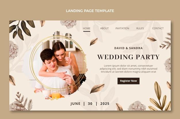Свадебная целевая страница акварели бохо Бесплатные векторы