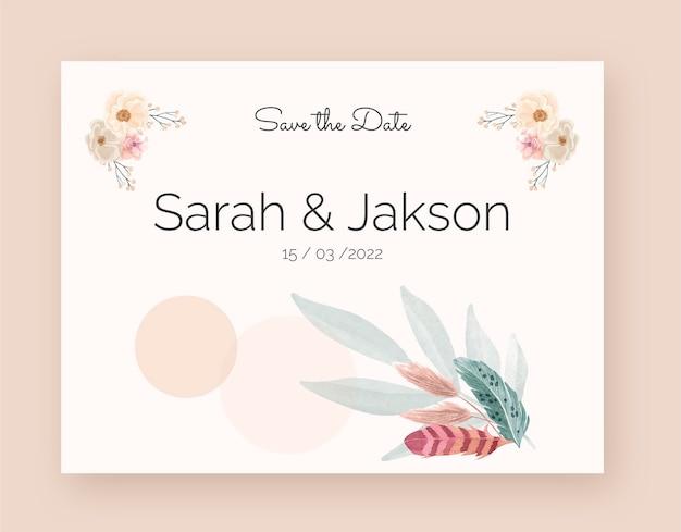 깃털과 수채화 boho 결혼식 photocall