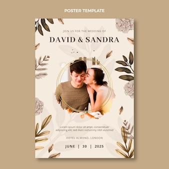 Акварельный свадебный плакат в стиле бохо Premium векторы