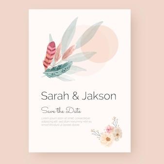 水彩自由奔放に生きる結婚式のポスター