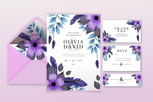 Watercolor boho wedding stationery collection