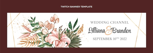 Watercolor boho wedding twitch banner