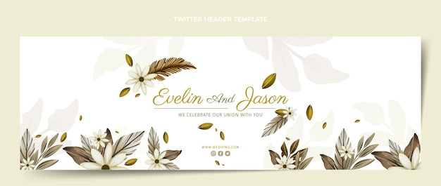 Watercolor boho wedding twitter header