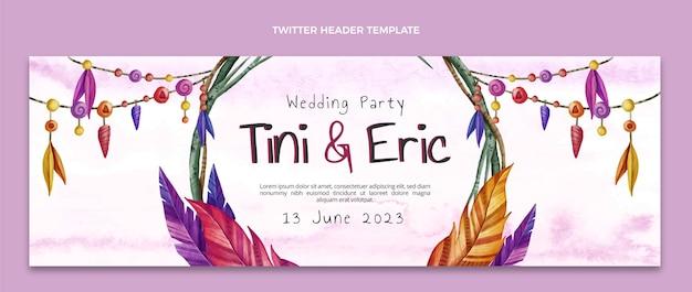 Intestazione twitter matrimonio boho acquerello