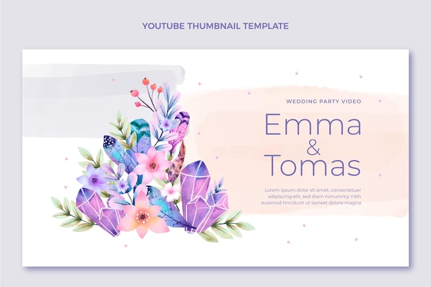 Miniatura di youtube per matrimonio boho ad acquerello