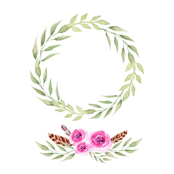 Watercolor boho wreath and bouquet.
