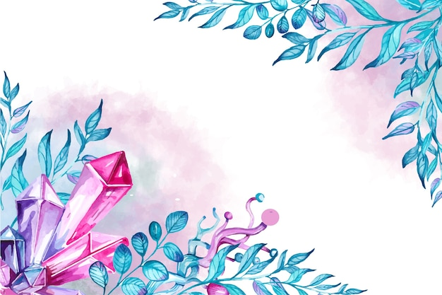 Watercolor border crystals and leaves