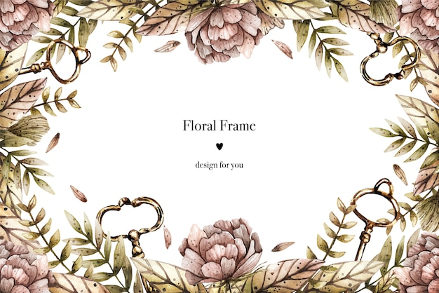 Watercolor border frame in vintage style with peonies, plants and keys.