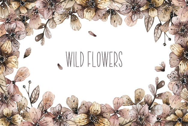 Watercolor border frame with magic wild flowers. vector illustration.