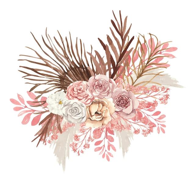 가을 꽃과 수채화 식물 꽃다발