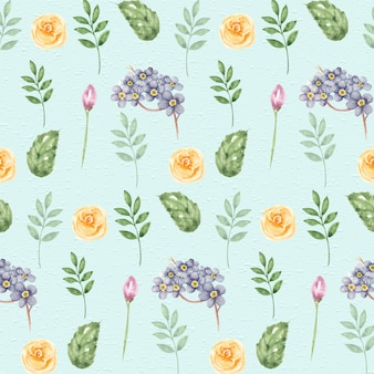 Watercolor botanical elements seamless pattern