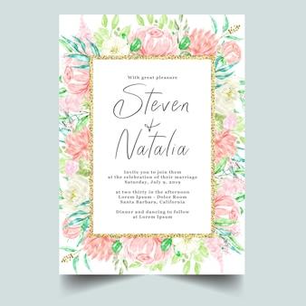 Watercolor botanical floral frame & background