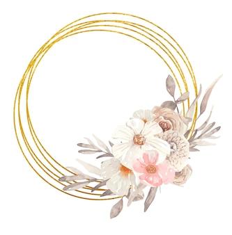 청첩장과 지문에 좋은 가을 꽃이 있는 수채색 식물 황금 프레임