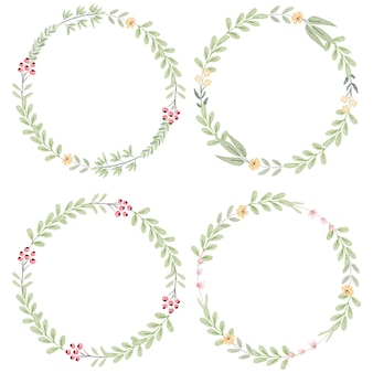 Watercolor botanical hand drawing leafs wreath with tiny pink and yellow flowers collection
