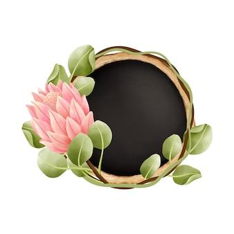水彩画ボタニカルイラスト、木製のスライス、黒い黒板。水彩プロテア花