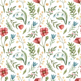 Watercolor botanical seamless pattern. illustration of blue, red, flowers (bells, poppies, berries, green leaves, branches)