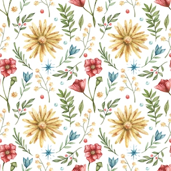 Watercolor botanical seamless pattern. illustration of blue, red, yellow flowers (bells, poppies, daisies, leaves, branches)