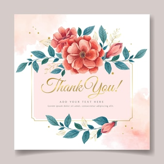 Watercolor botanical thank you card design