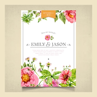 Watercolor botanical wedding invitation card