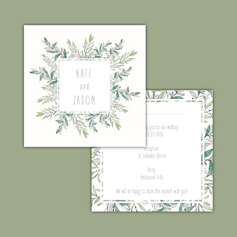 Watercolor botanical wedding invitation design