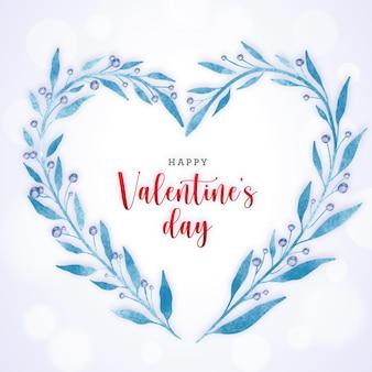 バレンタインデーのための水彩植物の花輪の心