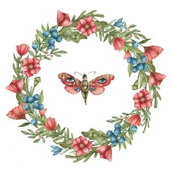 빨간색과 파란색 야생화 및 잎의 수채화 식물 화 환. 디자인 엽서 및 소셜 네트워크에 적합합니다. 귀여운 나비 소녀.