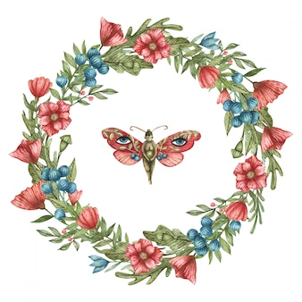 Watercolor botanical wreath of red and blue wildflowers and leaves. suitable for design postcards and for social networks.  cute butterfly girl.