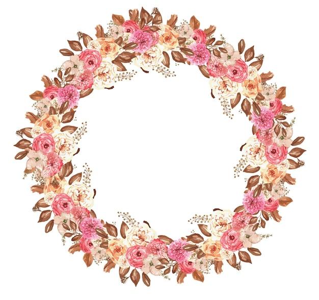 秋のアスターと手描きの葉と水彩植物の花輪