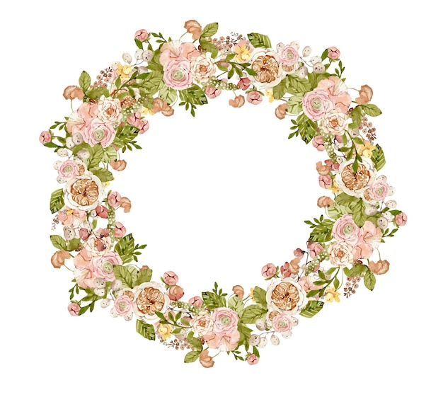 Watercolor botanical wreath with autumn flowers