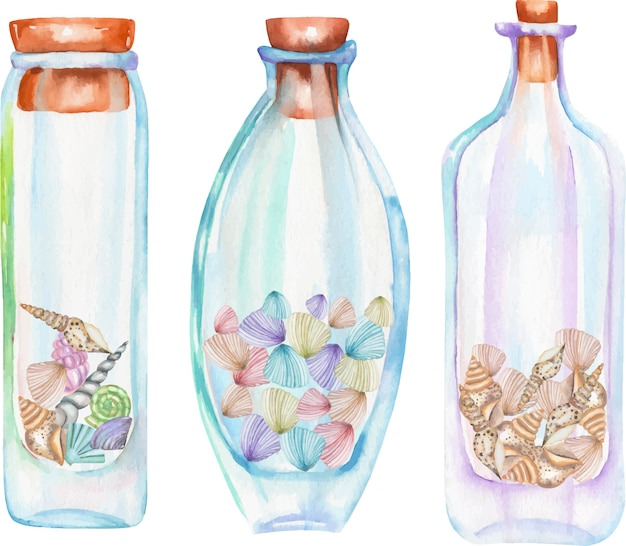Watercolor bottles with sea shells inside