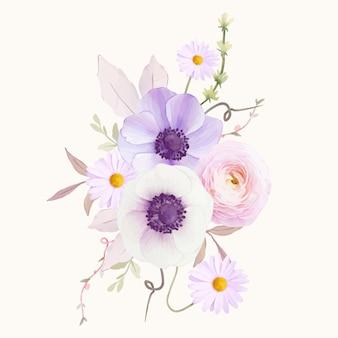 Watercolor bouquet of anemones flower