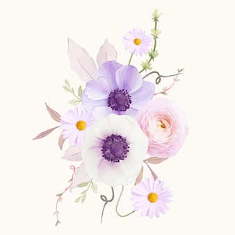 Акварельный букет цветов анемонов