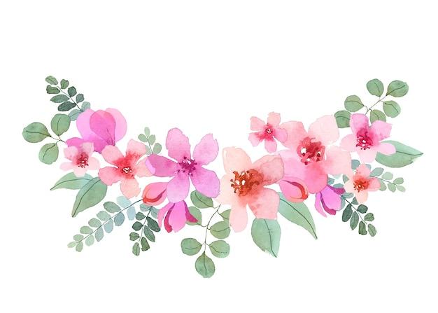 아름다운 꽃의 수채화 꽃다발