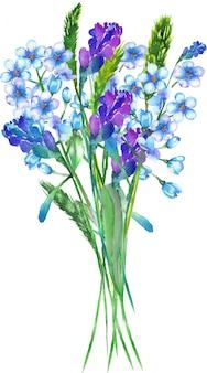 青いワスレナグサの花の水彩画の花束
